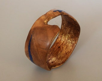 Wood Bracelet/Bangle with Gold Leaf and Lapis