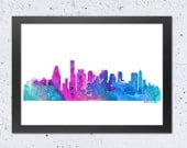 Boston Skyline Watercolor print, Boston Cityscape color silhouette, Textured Blue Green Pink Red Orange, Modern Home Wall Office Decor, DIY