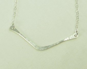 Chevron Necklace - V Shape - V Necklace - Hand Cut - Hand Hammered - Sterling Silver - 14k Gold Fill