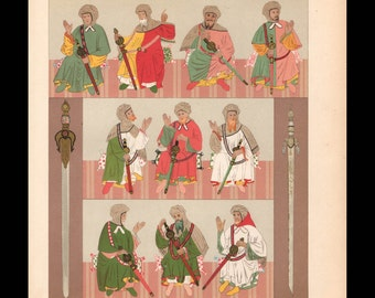 Original Antique French Print, The Moors, Fashion and Swords, Africa, Moresque, Mauresque
