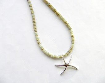 Starfish necklace - silver starfish and gemstone necklace -  jasper beach jewelry