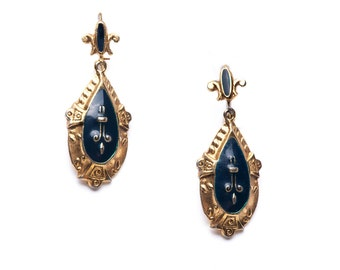 Victorian Revival Gold and Black Drop Dangle Earrings Pierced