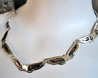 Butterfly Necklace Mexico Alpaca Silver Choker, Fairy Wings, Rainbow Black Abalone Links, marked Hecho en Mexico