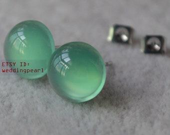light green jade earrings,clean 10mm jade earrings,birthday lucky stone,Cabochon Gemstone post studs,light green bead ear rings stud