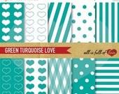 80% off DIGITAL PAPER Pack Green Background Turquoise Patterns Kit Green Valentines Digital Paper