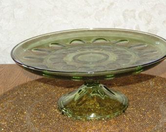 vintage Indiana Glass Cake Plate