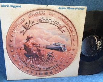 "Vintage, Merle Haggard - ""Amber Waves Of Grain"", Vinyl LP Record Album, Original 1985 First Press, Gone With The Wind, Country, Rock"