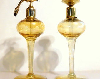 Vintage 1920s Gironde Art Deco DeVilbiss Style Perfume Atomizer and Dauber Set