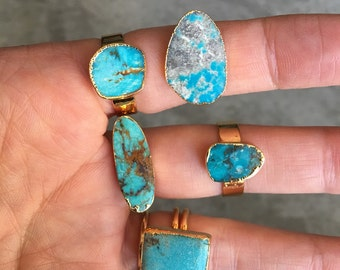Turquoise rings, boho jewelry, aunt gift, sister gift