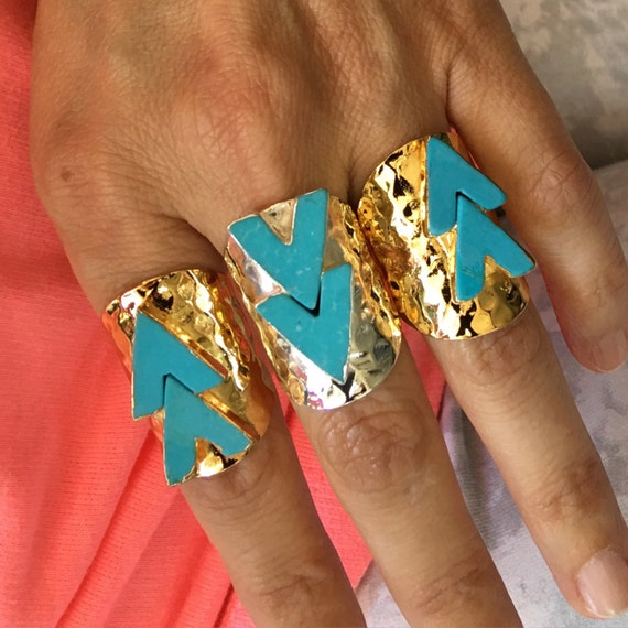 Turquoise Statement Boho Rings