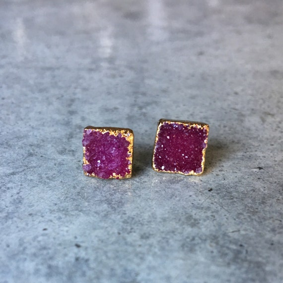 Druzy Earrings, druzy, druzy jewelry, Garnet color