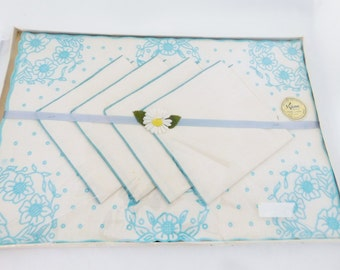 Pure Linen Placemats and Napkins, Made in Israel, Light Blue and White Table Linens