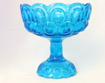 Blue Pedestal Dish, Candy Dish, Blue Vase,  Moon and Star, L.E. Smith