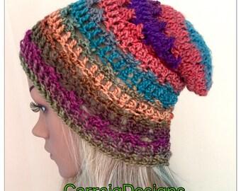 BUY1GET1HALFPRICE Womens hand crochet knit oversized slouch beanie snood hat rainbow multi hippie boho tam teens unique designer