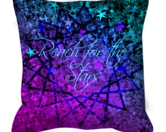 REACH for the STARS Purple Blue Ombre Art Suede Throw Pillow Cushion Cover 16x16 18x18 Typography Abstract Painting Inspirational Teal Decor