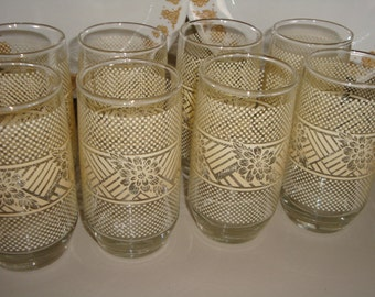 Vintage Yuette Tumbler Water Drinking Glasses Beverage Butterfly Gold Coordinate Kitchen Dining Serving Water Glasses