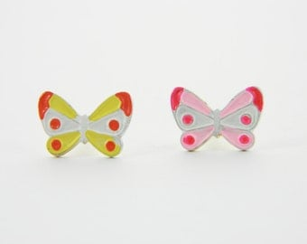 Vintage Butterfly Pin Duo - Pink and Yellow