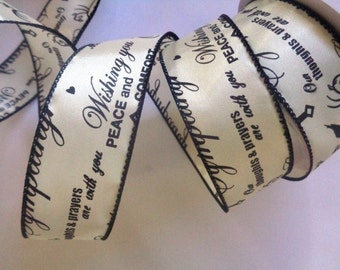 "Words of Sympathy Wired Ribbon, Ivory / Black, 1 1/2"" inch wide, 1 yard, For Gift Packing, Wreaths, Center Pieces, Home Decor"