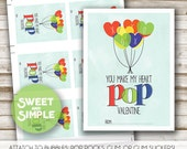 Printable Valentine's Day Cards for Kids, Boy, Valentine Tags, You Blow Me Away Valentine, XOXO, Modern Watercolor, Easy