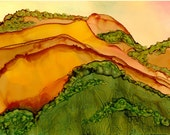 "Ink Painting, ""California Hills"" , matted, backed, ready for framing"