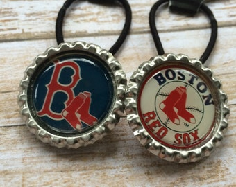 Boston Red Sox Ponytail Holders, Boston Red Sox Hair Ties, Boston Red Sox Baseball Ponytail Holders, Red Sox Hair Accessory, Red Sox Gift