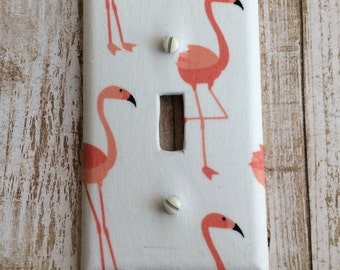 Pink Flamingo Switch Plate Cover, Nautical Light Switch Cover, Nautical Wall Decor, Beach Decor Flamingo Switch Plate, Beach Nursery