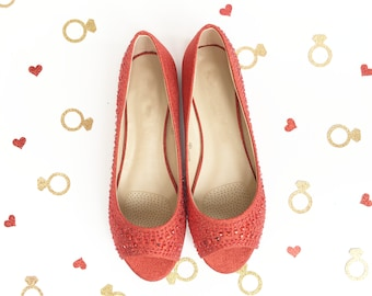 SALE!!! Women Flat Shoes - RED Peep toe flats with rhinestones, Bridesmaids Shoes, Wedding Party Shoes