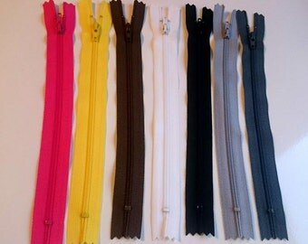 "Set of 45 polyester zippers, 8"", see listing info for further details"
