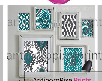 Modern ikat Collage Teals Charcoal Grey  Wall Art Picture Gallery - Set of (6) Wall Art Prints - (UNFRAMED) #385171670