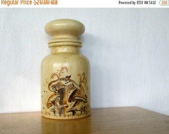 ON SALE Vintage Ceramic Canister Funky Storage Handpainted Mushroom Decor