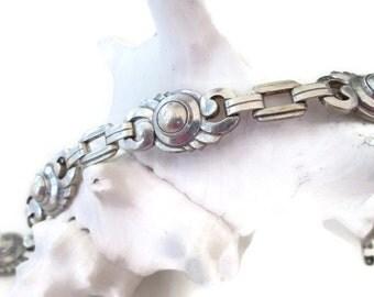 Art Deco Bracelet, Sterling Silver Links, Signed Vintage Bracelet