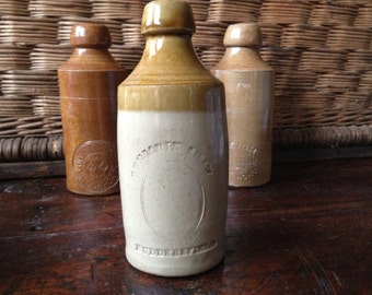 1800s English Pottery Stoneware Ginger Beer Pint Bottle, Huddersdfield England Stamp