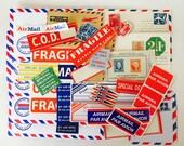 Air Mail Lot 45 Pc. Postal Envelopes, Stamps, Dennison Stickers, etc. / Airmail Lot #C