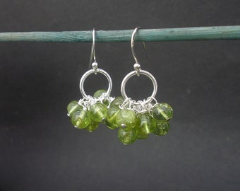 Natural Gemstone Peridot Round Beads Cluster 925 Sterling Silver Dangle Earrings