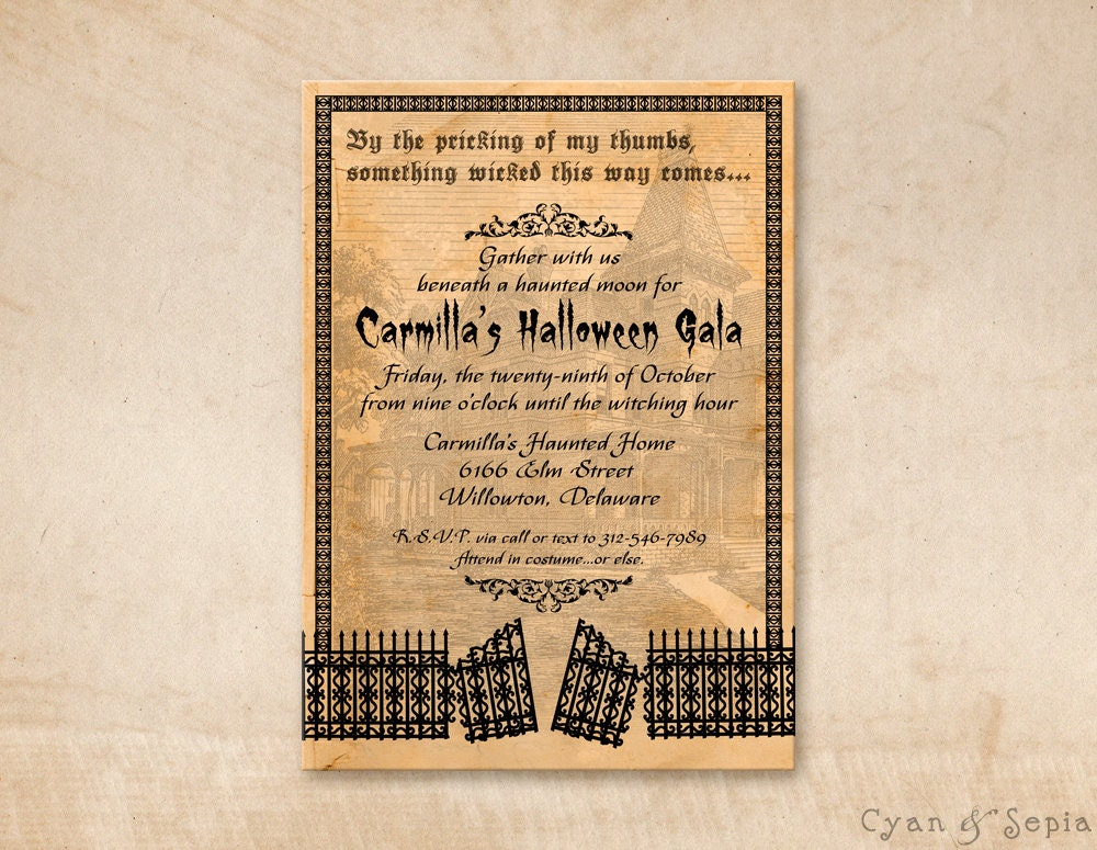 Printable Halloween Party Invitation 5x7 Haunted House