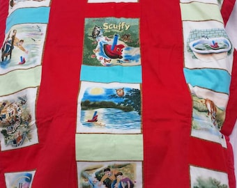 childrens quilt/ golden books blanket/ scuffy the tugboat quilt