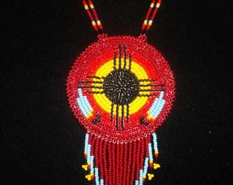 native amerian necklace, black sun necklace