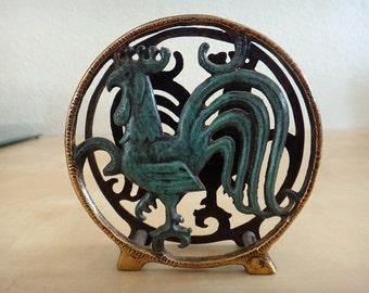 Vintage Solid Brass Rooster Coaster / Letter / Napkin Holder - Dayagi Brothers, Israel