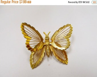 ON SALE MONET Gold Tone Wire Design Butterfly Pin Item K # 2637