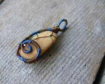 Sea stone pendant, blue brown copper wire, beach stone pendant, wire wrapped pendant, sea stone jewelry, genuine sea stone, Birthday gift