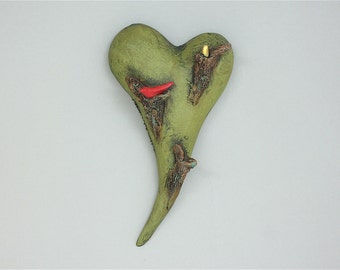 """Heart, ceramic wall art, Jacquline Hurlbert, one of a kind, unique, title: """"Heart Song"""""""