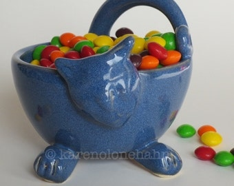 Ceramic Cat Bowl, Pottery Cat Bowl,Blue Whimsical, Handmade Pottery Bowl