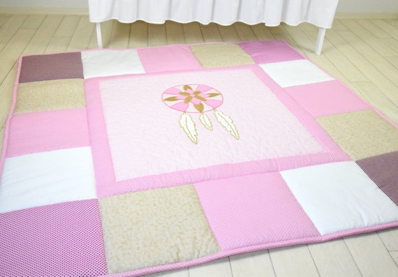 Play Mat Large Dream Catcher Baby Rug, Padded Pink Gold white Playmat, BabyMat
