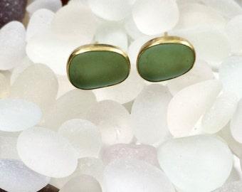 18k Gold, Sea Foam Green Sea Glass Studs