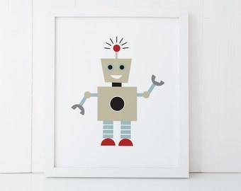 Robot print boy room decor etsy for Robot room decor