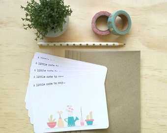 Notecard Pack - Pot Plants - Set of 5 Notecards and Envelopes - NOT035