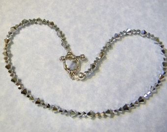 Argent Crystal Necklace with Crystal Toggle