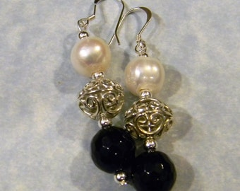 Faceted Onyx, Freshwater Pearl and Bali Silver Drop Earrings