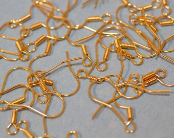 200pc Gold Earring Hooks 15mm 1-3 day Shipping