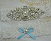 Bridal Garter Set-Wedding Garter - Ivory Stretch Lace-Vintage  Garters Set- Pearl And Rhinestone garters